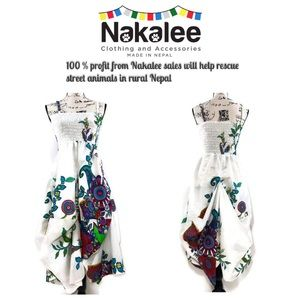 Boho Colorful Gathered Handkerchief Dress